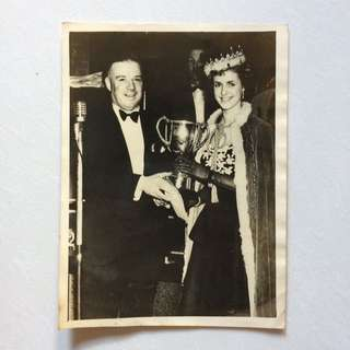 Vintage Old Photo - Old Black & White Photograph taken in 1954 showing Miss Irish (photo is sent to press for publishing) (21 by 15 cm) (rare)