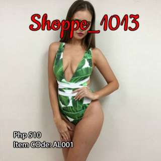 Elaenaor Tropical Leaf One Piece Swimwear AL001