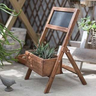 Vintage Provence Classroom Chalkboard Miniature Planter Stand