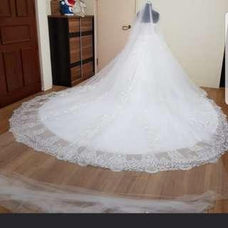 Instock 5m long wedding veil for ball gown wedding dress