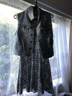Denim sleeveless jacket size 8 or the dress size 8-10