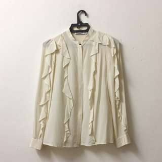See by Chloé Cream Ruffle Long Sleeve Silk Shirt