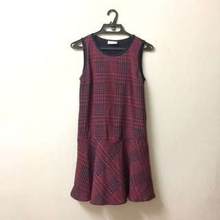 Pringle 1815 Tartan Print Red and Navy Sleeveless Drop Waist Flounce Hem Dress