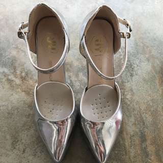 Silver pumps high heels (mint)