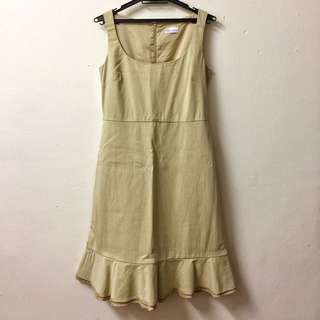 RED Valentino Beige Sleeveless Ruffle Hem Dress