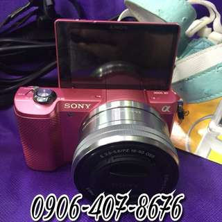Sony mirrorless a5000 pink with 16-50mm, case and accesories