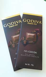 Godiva 72% Cocoa rich smooth belgian dark chocolate 90g x2