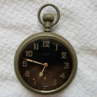 Elgin USA Black Dial Military Pocket Watch