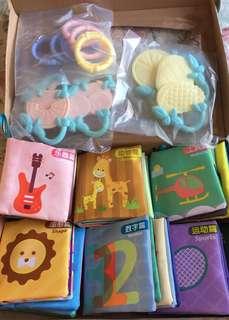 BNIB 6 Pcs Bilingual Cloth Books and 8 Pcs Teething Toys