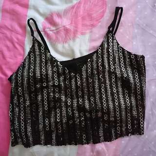 Black Sequin Crop Top