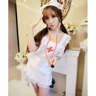 Plus Size *Wholesales READY STOCKS 批发价现货* Brand New, S-XL Size, 3pcs, Nurse Roleplay, Cosplay, Lace, 5-pcs set, chemises, Lingerie Set, Babydoll, Dress, Sleepwear (By post only) Body Suit, Lace, babydoll, gown, Free Size 性感情趣内衣