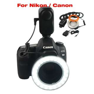 💯 48 LED Macro Ring Continuous Light 49 67MM 6 Lens Adapter Ring Nikon Canon