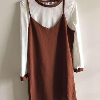 🚚 紅棕色兩件式吊帶洋裝