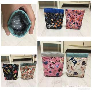 Spring frame pouches