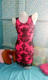 HotPink lace badycon dress