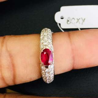 Ruby Ring with natural Diamonds