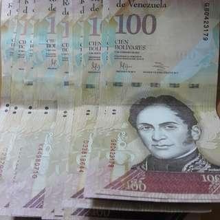 低價出售一批面值100元委內瑞拉幣,有興趣請留言。