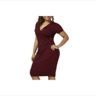 PLUS SIZE Overlap Surplice V-Neck Dress