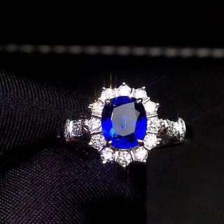 18K白金 無燒斯里蘭卡藍寶石鑽石戒指
