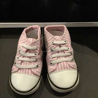 Pink and white Ralph Lauren baby shoes 6-12M and 12-18M