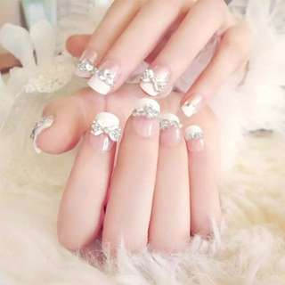 24 Pcs/Set Cute French False Nails With Glue Wedding Bride Full Nail Tips Middle-Long 3D Fake Nails For Womne Lady    FM88