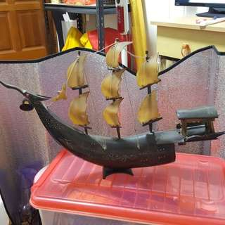 Vintage Buffalo horn sailing ship