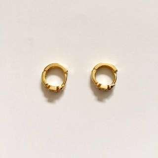 Brand New - Tiny Small Diamanté Gold Sleepers Hoop Earrings - Fashion Jewellery