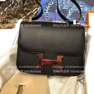 100% Authentic & Brand New Hermes Constance 24 Black Epsom Rose gold