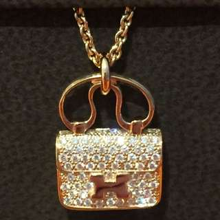 New Hermes Constance Diamond Necklace. Rose Gold