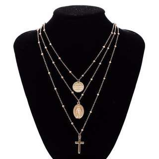MARY AND CROSS LAYERED NECKLACE