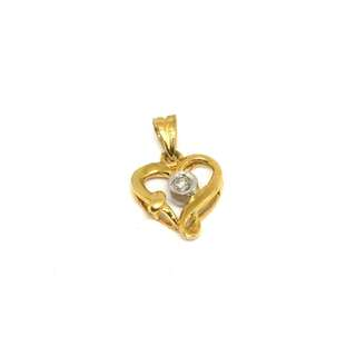 Just Jewels Heart Pendant with Diamonds Bi-color
