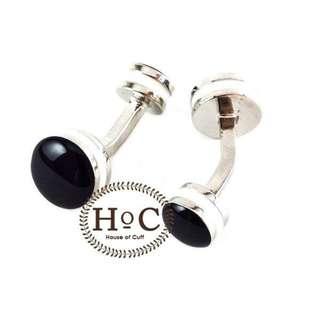 Houseofcuff Cufflinks Manset Kancing Kemeja French Cuff CIRCLE BLACK CURVE CUFFLINKS