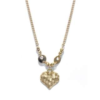 Just Jewels Textured Heart Necklace Yellow Gold