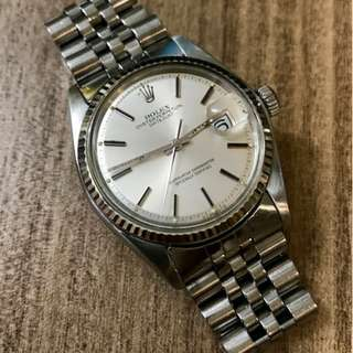 Pre-owned Vintage Rolex 1601 Datejust Silver Dial with 62510h/555 Bracelet
