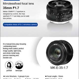 Meike 35mm F1.7 for ef-m,Fuji,Emount,m4/3