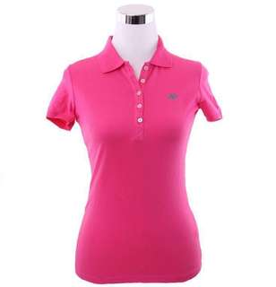 BN Aeropostale Stretch A87 Solid Pique Polo Tee Shirt in Hot Pink