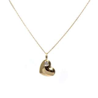 Just Jewels Necklace with Plain Heart Pendant Yellow Gold