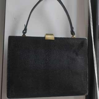 """""""Vintage"""" Black Snake skin Handbag"""
