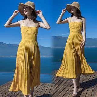 Yellow Pleated Dress [PO]