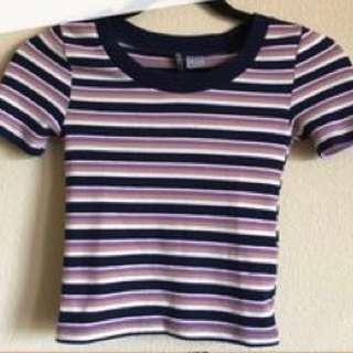 H&M Purple Striped Crop Top