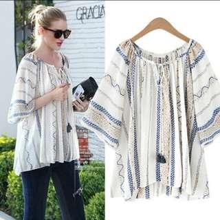 PO : Plus Size Short Sleeved Long Loose Cotton Linen Top