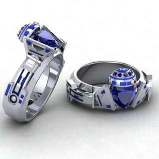 R2 Starwars custom Claddagh Ring Geek Jewelry Rings Wedding Engagement customize