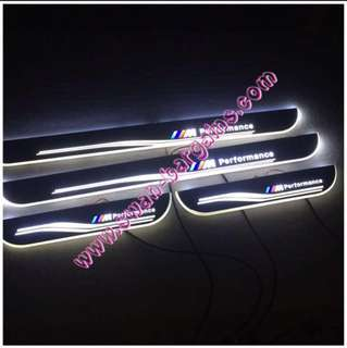 White Sweeping Glowing Animated BMW M Performance X3 X4 X5 X6 Moving Running Illuminated LED Door Sill Scuff Plates