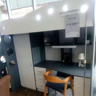 Multi unit tempat tidur , lemari pakaian dan meja belajar