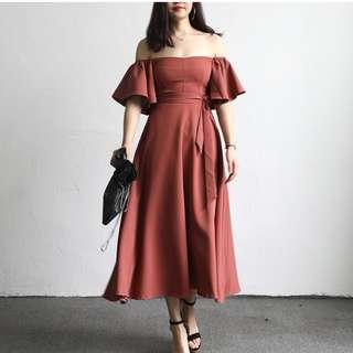 Off Shoulder Flare Sleeve Dress [PO]