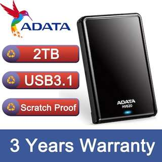 ADATA External hard drive | 1TB 2TB | 3 Years Warranty | USB 3.1 | HDD | Harddisk | Portable HDD Black/White