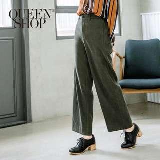 全新 高腰直筒西裝寬褲 墨綠 軍綠 Queen Shop