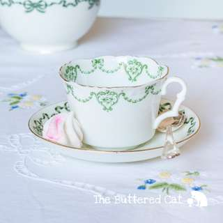 Pretty mix and match antique English bone china teacup and saucer