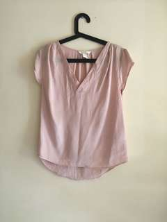 H&M blush satin top