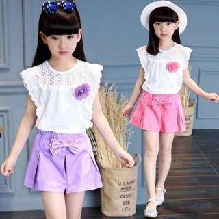 女童夏装T恤套装新款短袖女孩中大童童装儿童休闲两件套